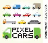 pixel art cars isolated vector... | Shutterstock .eps vector #169073915