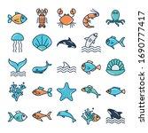 fill style icon set design sea... | Shutterstock .eps vector #1690777417