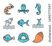 fill style icon set design sea... | Shutterstock .eps vector #1690777597