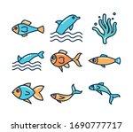 fill style icon set design sea... | Shutterstock .eps vector #1690777717