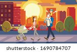 vector family walking with baby ... | Shutterstock .eps vector #1690784707