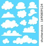 set of cloud icons on blue... | Shutterstock .eps vector #1690809124