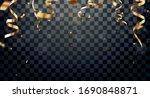 gold confetti and ribbon ...   Shutterstock .eps vector #1690848871