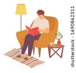 man sitting in comfortable... | Shutterstock .eps vector #1690862311
