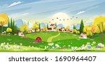 spring landscape in sunny day... | Shutterstock .eps vector #1690964407