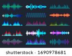 colored sound waves collection. ... | Shutterstock .eps vector #1690978681