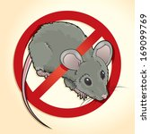 Vector drawing of a NO RATS Symbol/NO RATS/ Easy to edit layers and groups, Isolated Rat editable under the Red circle. Some meshes and gradients used. - stock vector