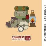 camping design over orange background vector illustration
