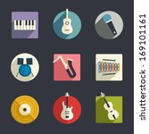 flat music icons | Shutterstock .eps vector #169101161