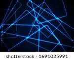 blue glowing neon lines... | Shutterstock .eps vector #1691025991