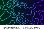 neon luminous topographic... | Shutterstock .eps vector #1691025997