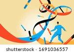 doctor running inside dna helix | Shutterstock .eps vector #1691036557