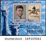 sharjah   circa 1984  a stamp... | Shutterstock . vector #169105061