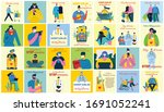 stay at home. stop coronavirus. ... | Shutterstock .eps vector #1691052241