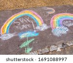 Stay Safe Chalk Drawing On...