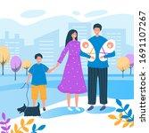 happy family walks around the...   Shutterstock .eps vector #1691107267