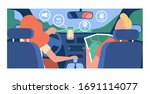 driver and passenger navigating ... | Shutterstock .eps vector #1691114077