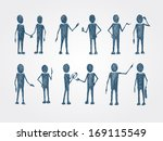 Set of doodle business people collaboration isolated vector illustration