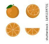 set oranges fruit   whole...   Shutterstock .eps vector #1691159731