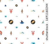 fish icons pattern seamless.... | Shutterstock .eps vector #1691160244