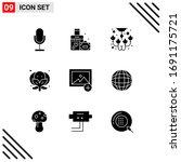 group of 9 modern solid glyphs... | Shutterstock .eps vector #1691175721