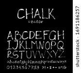 chalk alphabet  numbers. hand... | Shutterstock .eps vector #1691186257