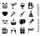 party icons set  contrast flat...