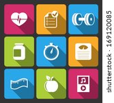 healthy lifestyle icons set for ...