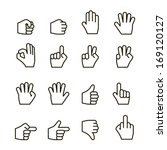 hand gestures icons set ...