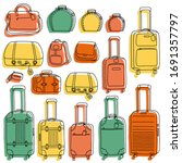 colorful suitcases in doodle... | Shutterstock .eps vector #1691357797
