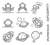 Astronaut And Rocket Icons Set...