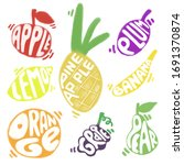 set of colorful fruits with... | Shutterstock . vector #1691370874