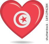 Tunisia National Flag In Heart...