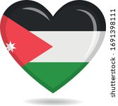 jordan national flag in heart... | Shutterstock .eps vector #1691398111