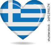 greece national flag in heart... | Shutterstock .eps vector #1691398174