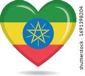 ethiopia national flag in heart ... | Shutterstock .eps vector #1691398204