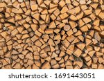 Firewood Texture. Pile Of Dry...