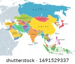 continent asia  political map... | Shutterstock .eps vector #1691529337