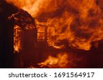 Violent Fire In Old House With...