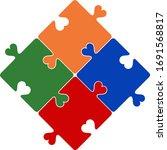 autism puzzle pieces . puzzle...   Shutterstock .eps vector #1691568817