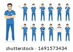 male nurse character set in... | Shutterstock .eps vector #1691573434