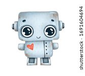 Cute Little Gray Robot With Red ...