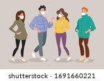 people wearing medical mask on... | Shutterstock .eps vector #1691660221