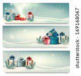 holiday winter banners with... | Shutterstock . vector #169168067