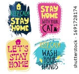 set of posters with hand drawn... | Shutterstock .eps vector #1691728174