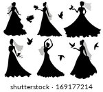 set of silhouettes of brides... | Shutterstock .eps vector #169177214