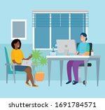 scene women working at home... | Shutterstock .eps vector #1691784571