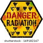 radiation warning sign  grungy... | Shutterstock .eps vector #169182167