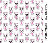seamless pattern cute pig...   Shutterstock .eps vector #1691831947