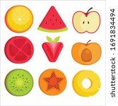 set of fruit halves. vector... | Shutterstock .eps vector #1691834494